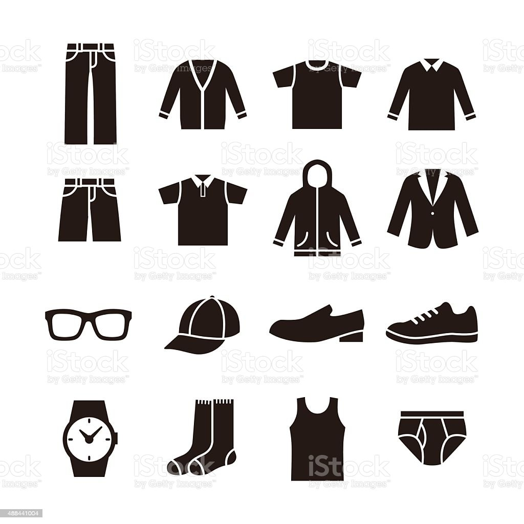 Mens fashion icon vector art illustration