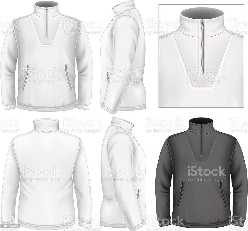 Men's fleece sweater design template vector art illustration