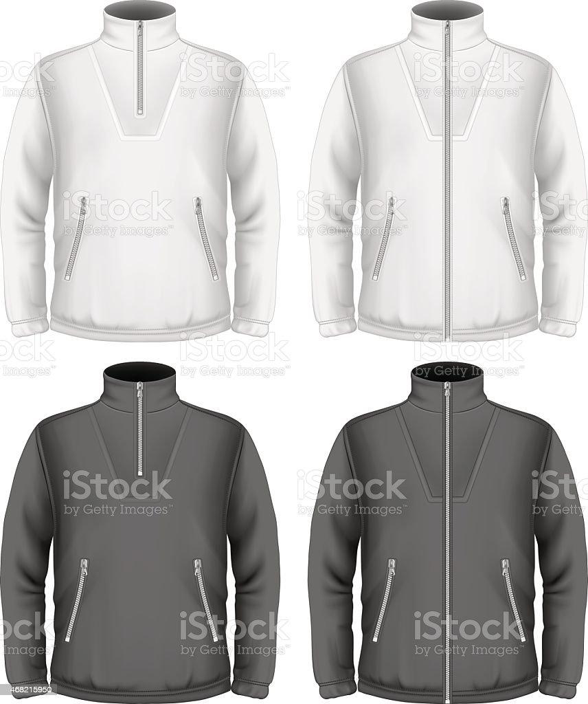 Men's fleece sweater design templates vector art illustration