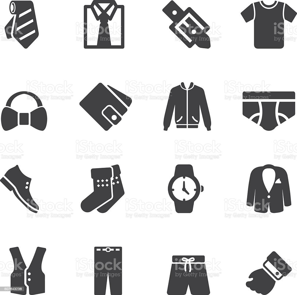 Mens Formal Wear Silhouette Icons | EPS10 vector art illustration