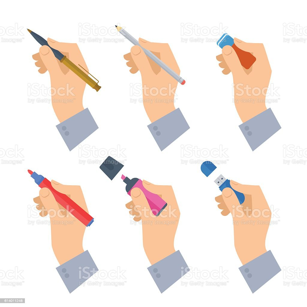 Men's hands with writing tools and office supplies set. vector art illustration