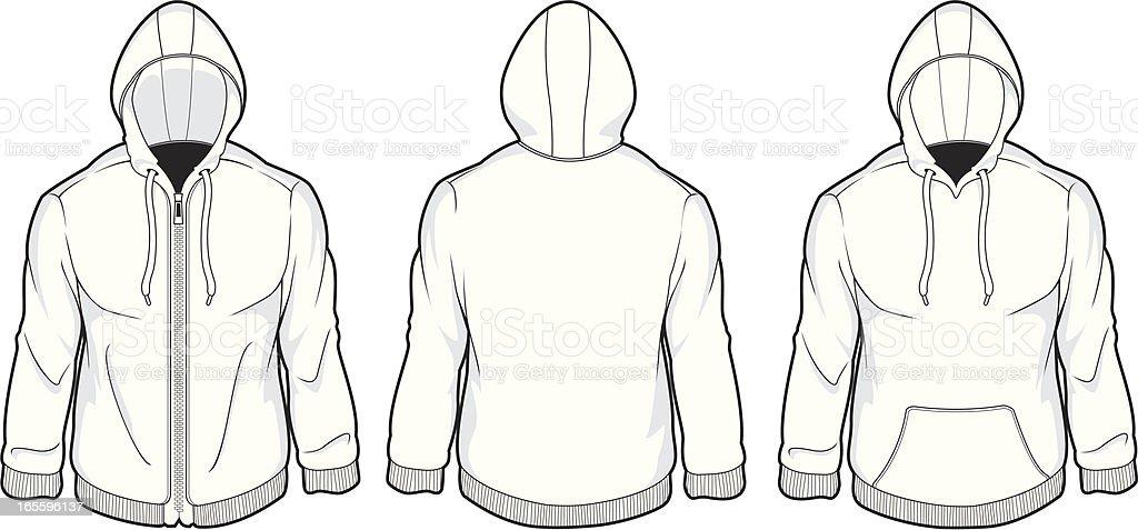mens hood fleece vector art illustration