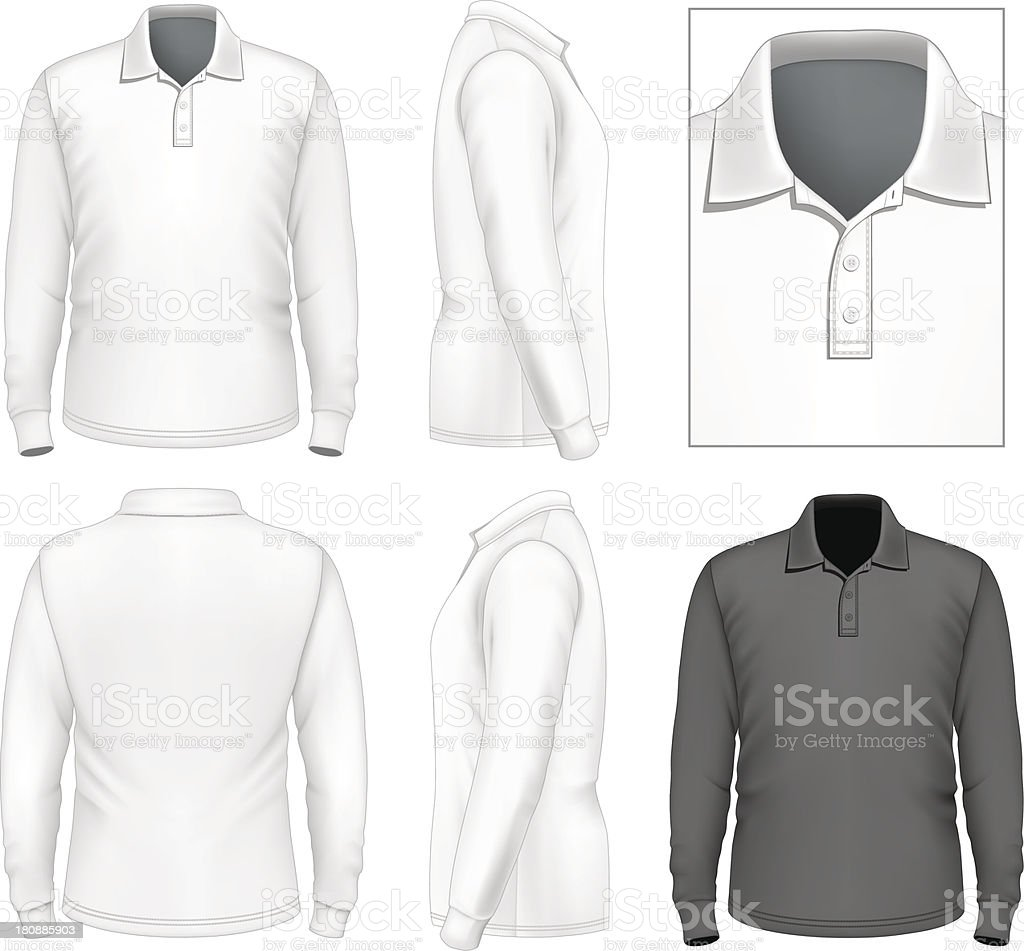 Men's long sleeve polo-shirt design template vector art illustration