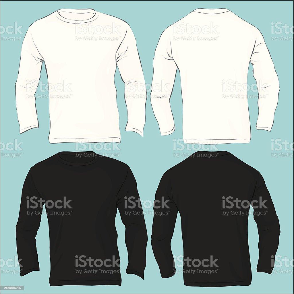 Men's Long Sleeved T-Shirt Template, Black White vector art illustration