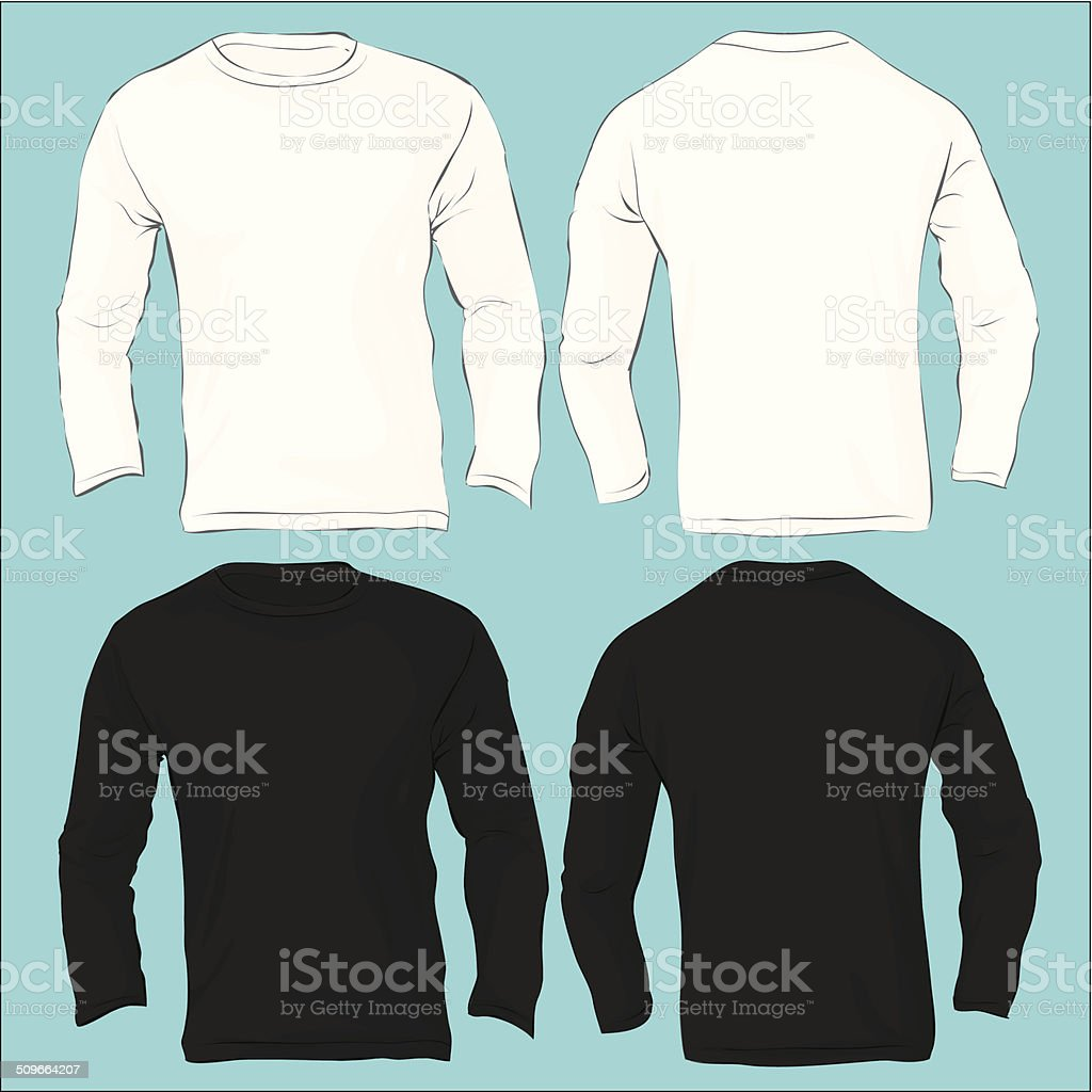 Men's Long Sleeved T-Shirt Template, Black White vector art illustration