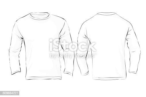 mens long sleeved tshirt template white color stock vector art 509664221 istock. Black Bedroom Furniture Sets. Home Design Ideas