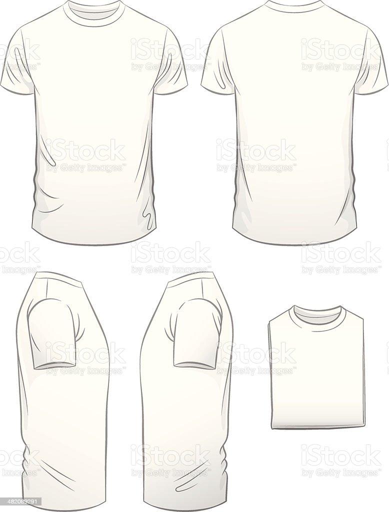 Men's Modern Fit T-shirt in Five Views vector art illustration