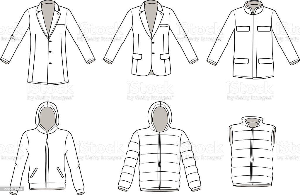 Men's Outerwear clothes, Garment illustration, Coat, Blazer. Jacket, vector vector art illustration