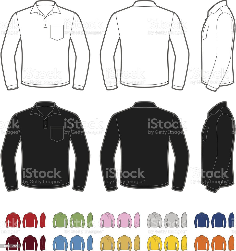 Men's polo shirt with long sleeve vector art illustration
