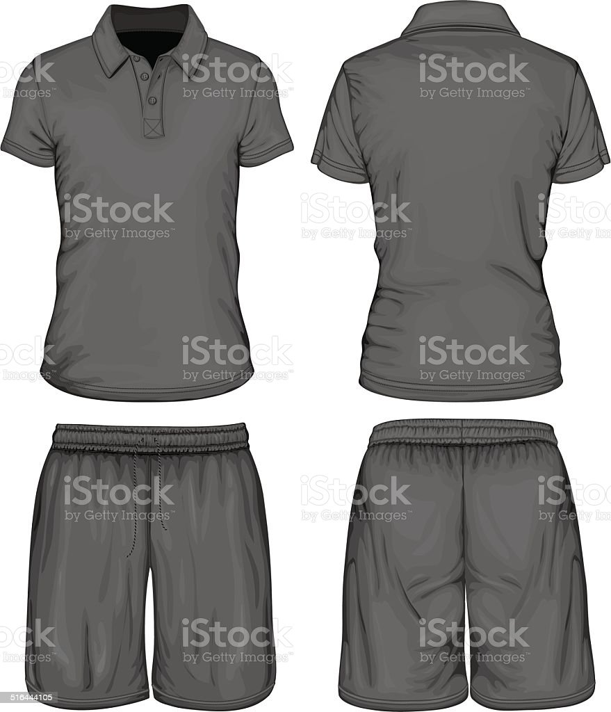 Men's polo-shirt and sport shorts vector art illustration