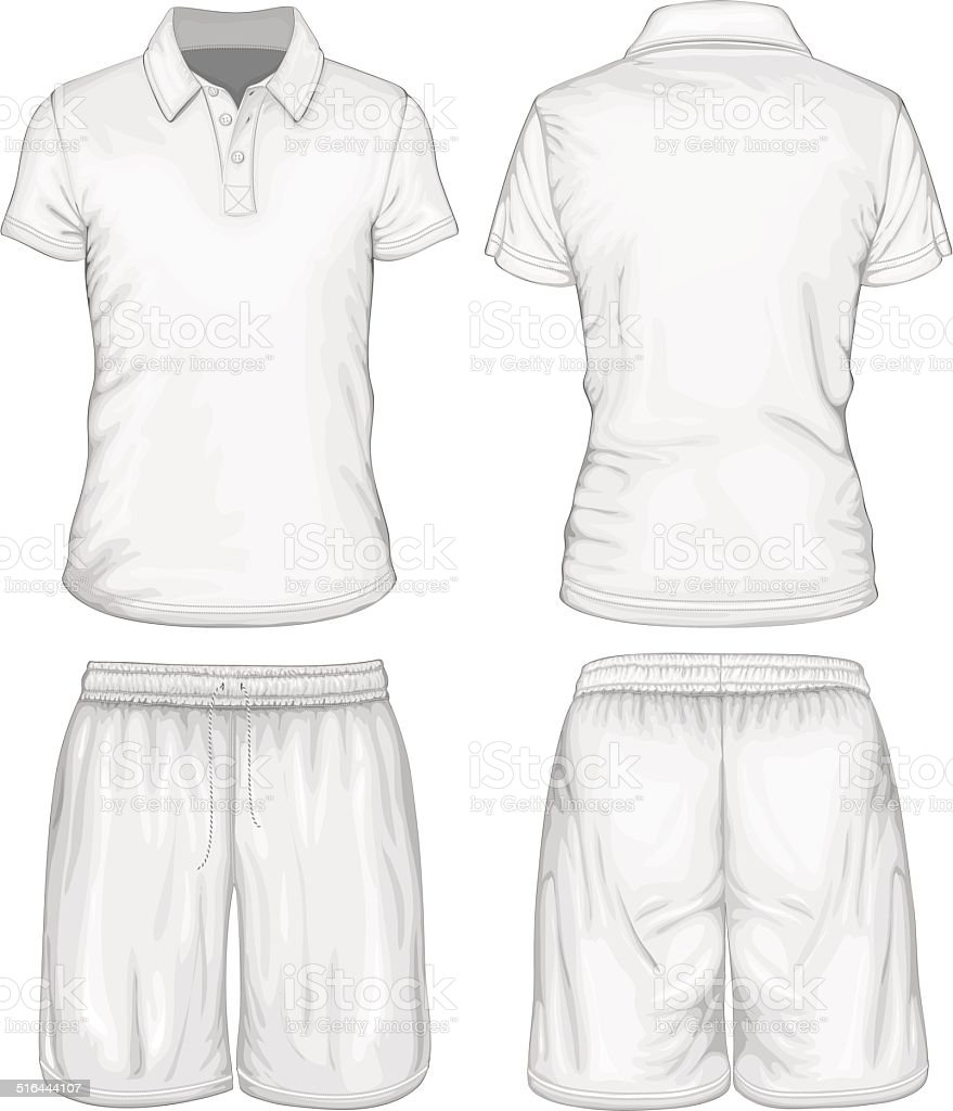 Men's polo-shirt and sport shorts vector art illustration
