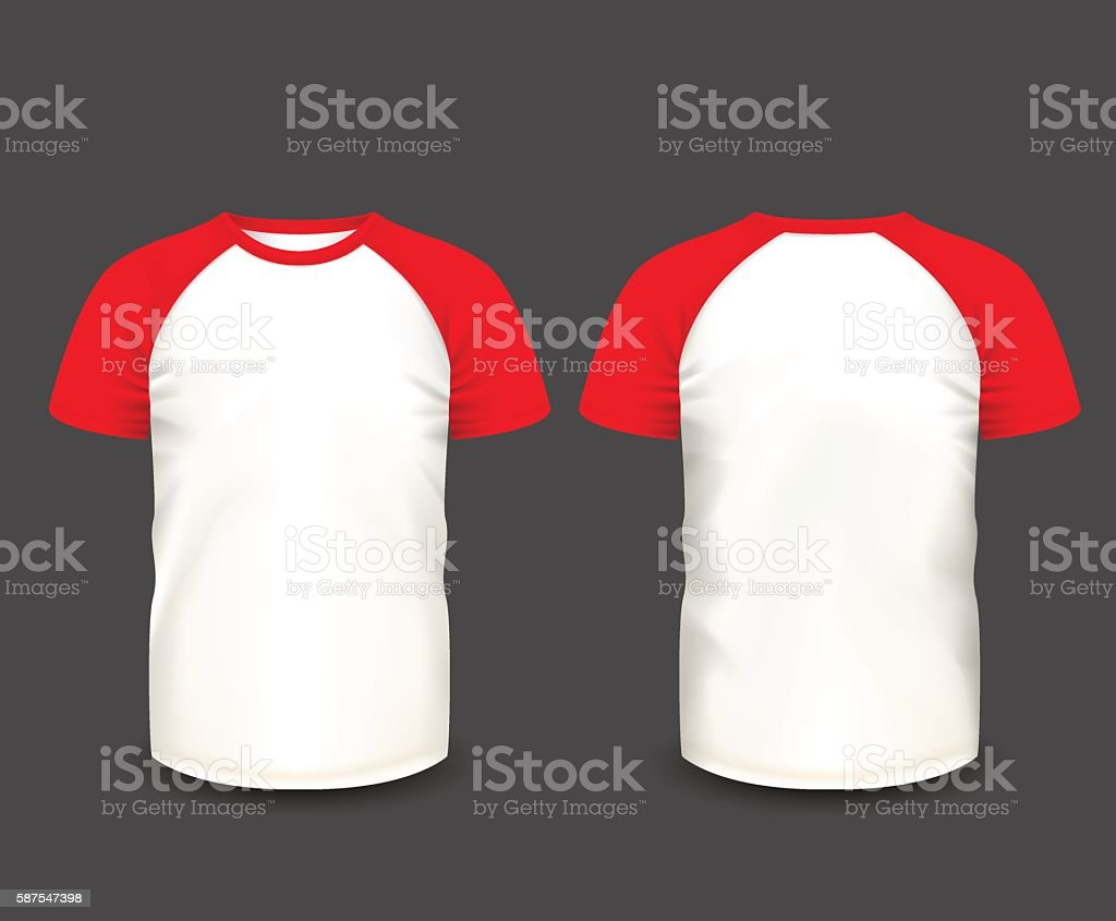 Mens raglan t-shirt in front and back views. vector art illustration