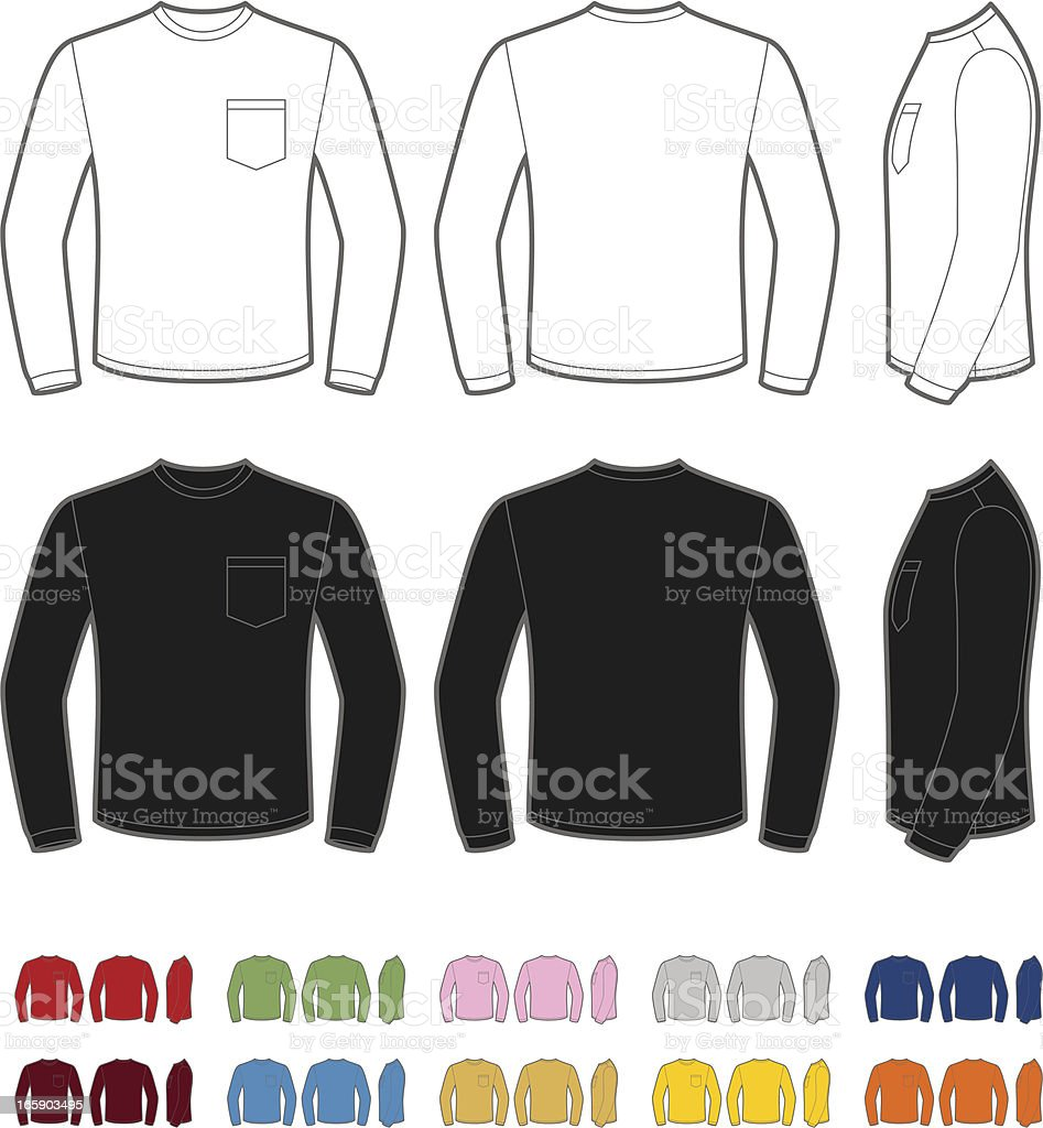 Men's shirt with long sleeve vector art illustration