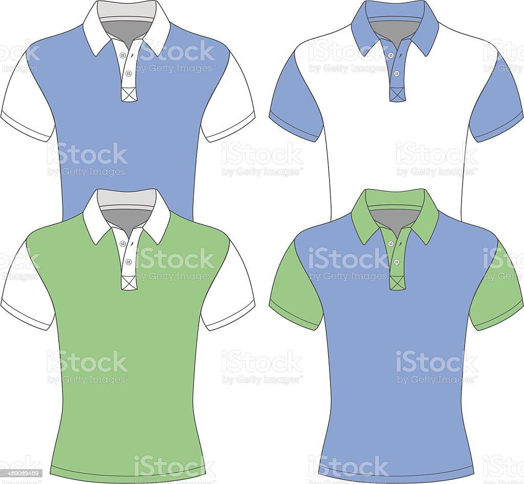 Men's short sleeve polo shirt. vector art illustration