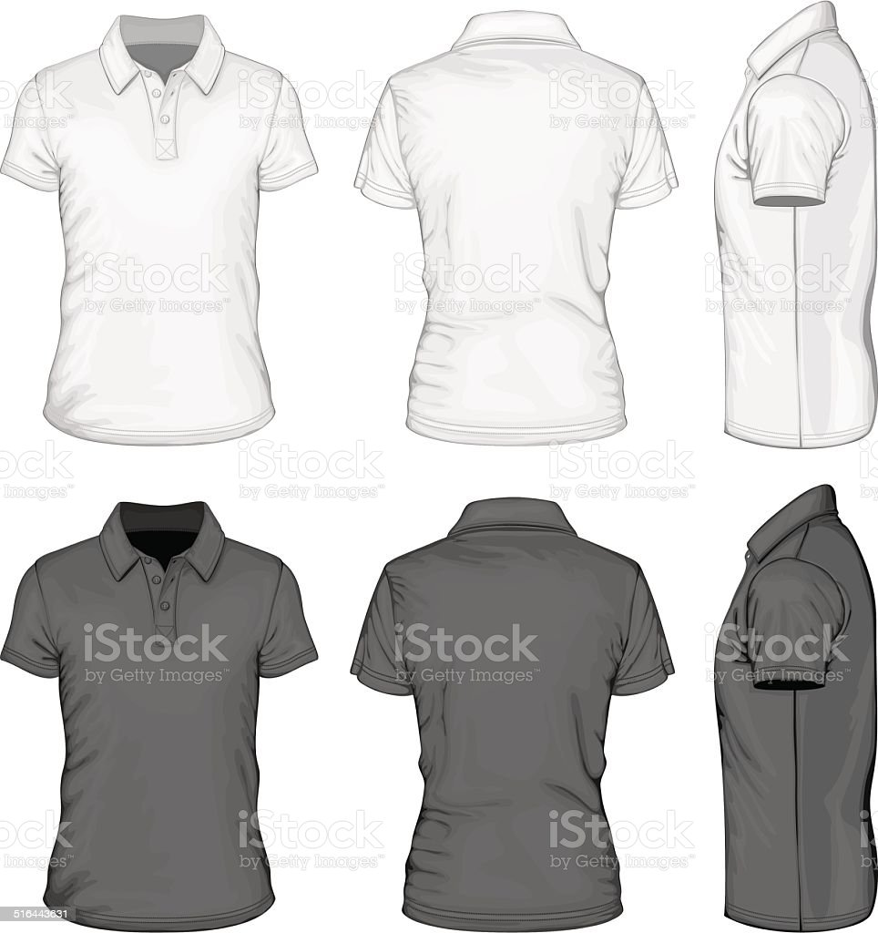 Men's short sleeve polo-shirt design templates. vector art illustration