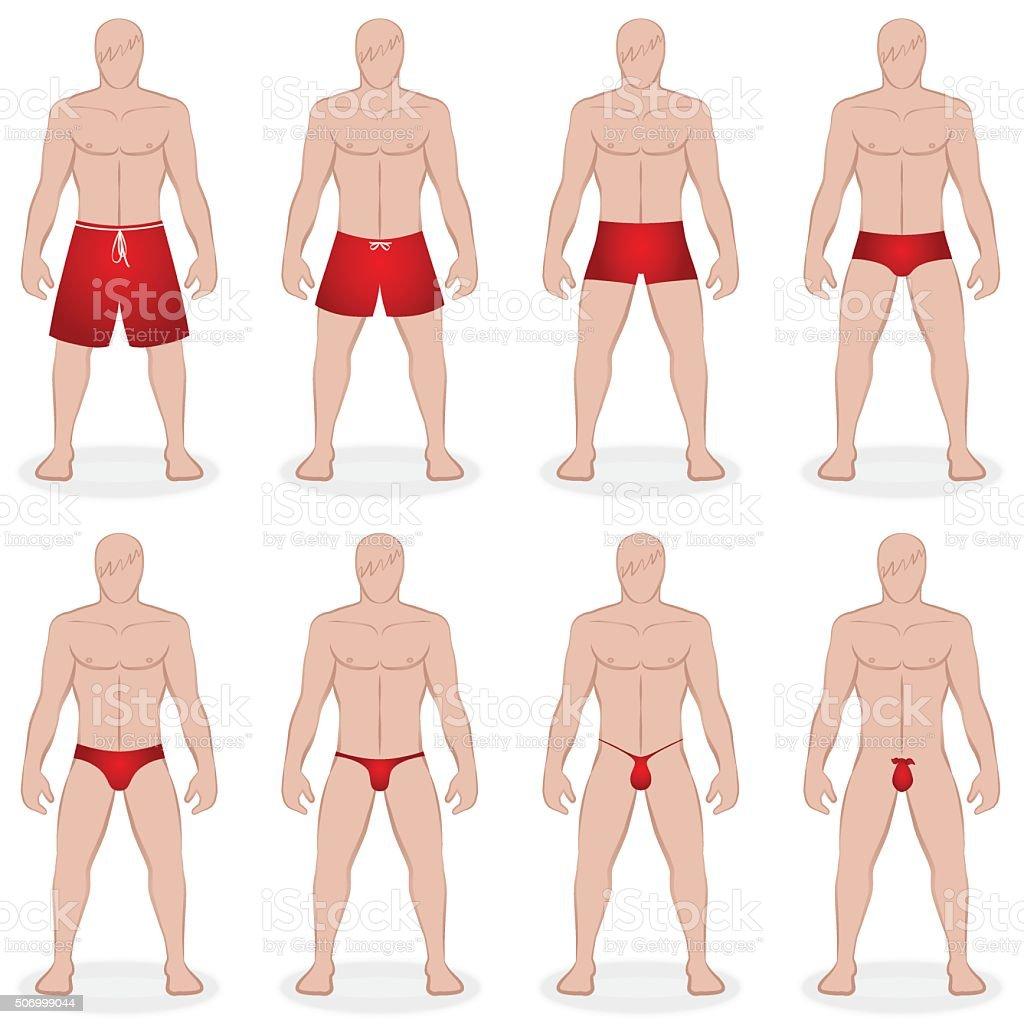 Mens Swimwear Styles vector art illustration