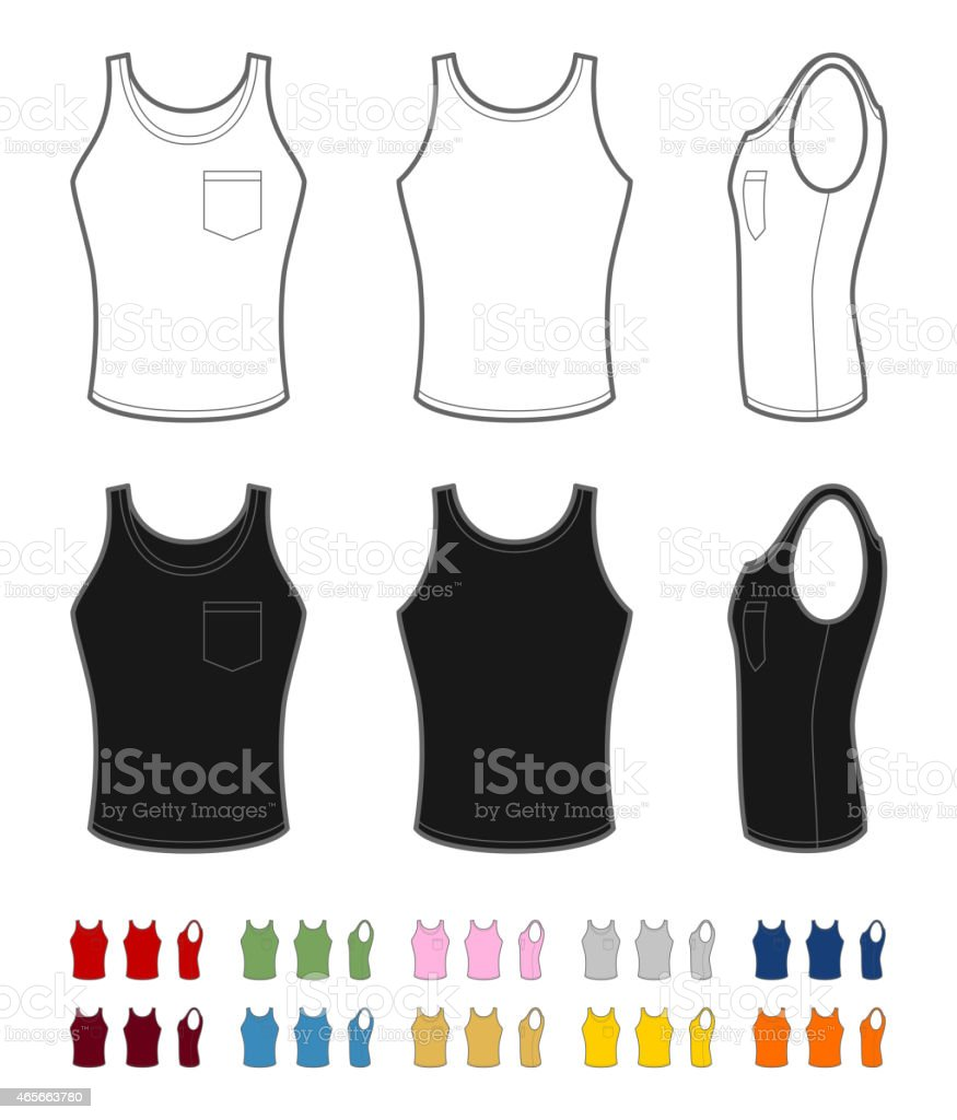 Men's tank top with pocket vector art illustration
