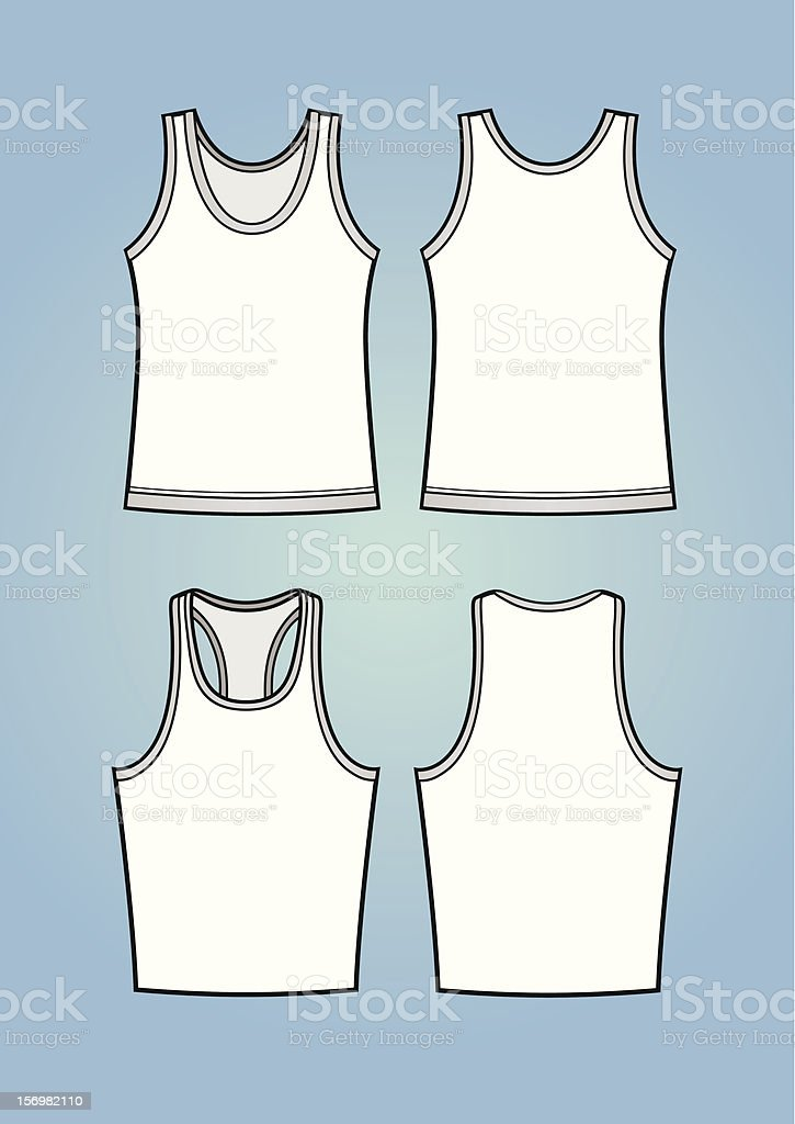 Men's tanktops/sleeveless shirts (front and back) vector art illustration
