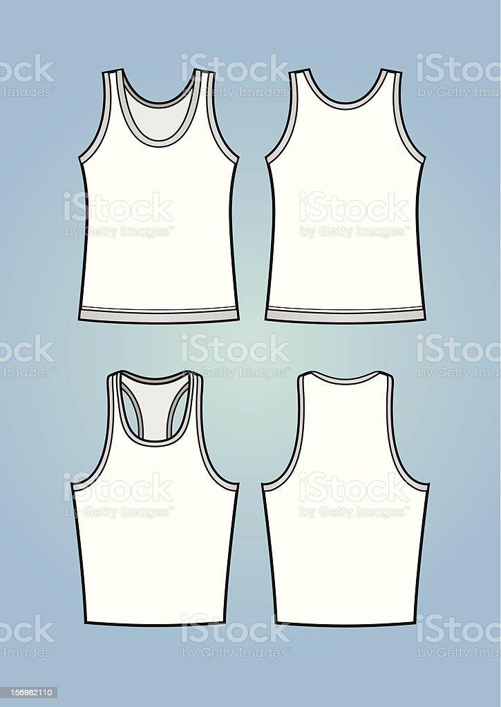 Men's tanktops/sleeveless shirts (front and back) vector art illustration