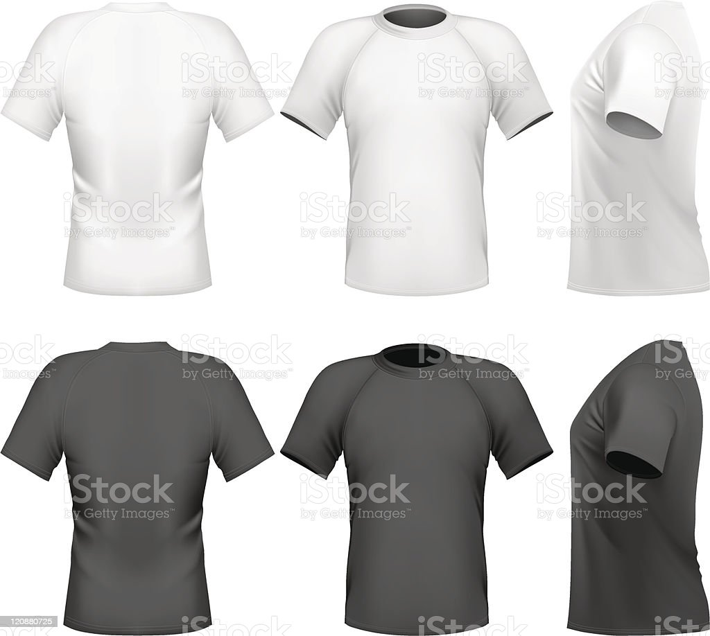 Black t shirt vector front and back - Men S T Shirt Design Template Front Back And Side View Royalty