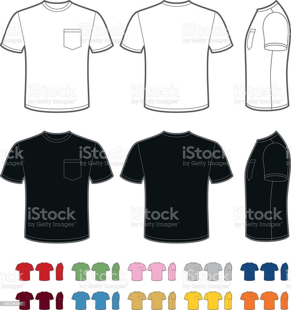 Men's t-shirt with pocket vector art illustration