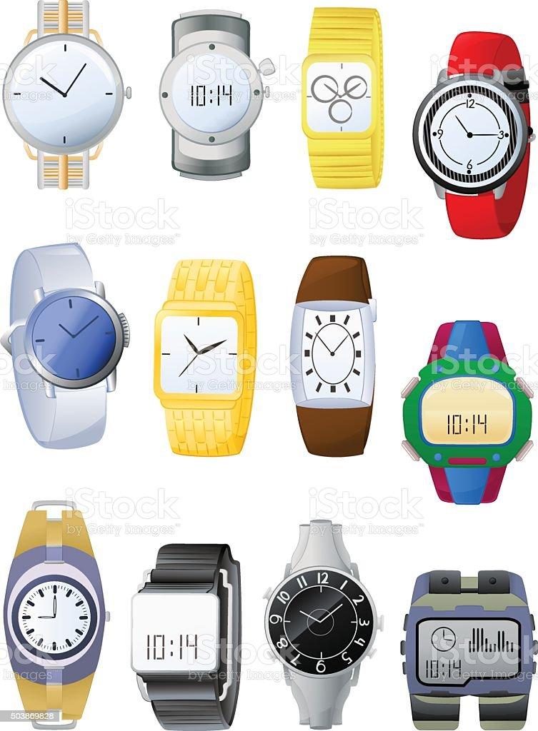 Men's watches vector art illustration
