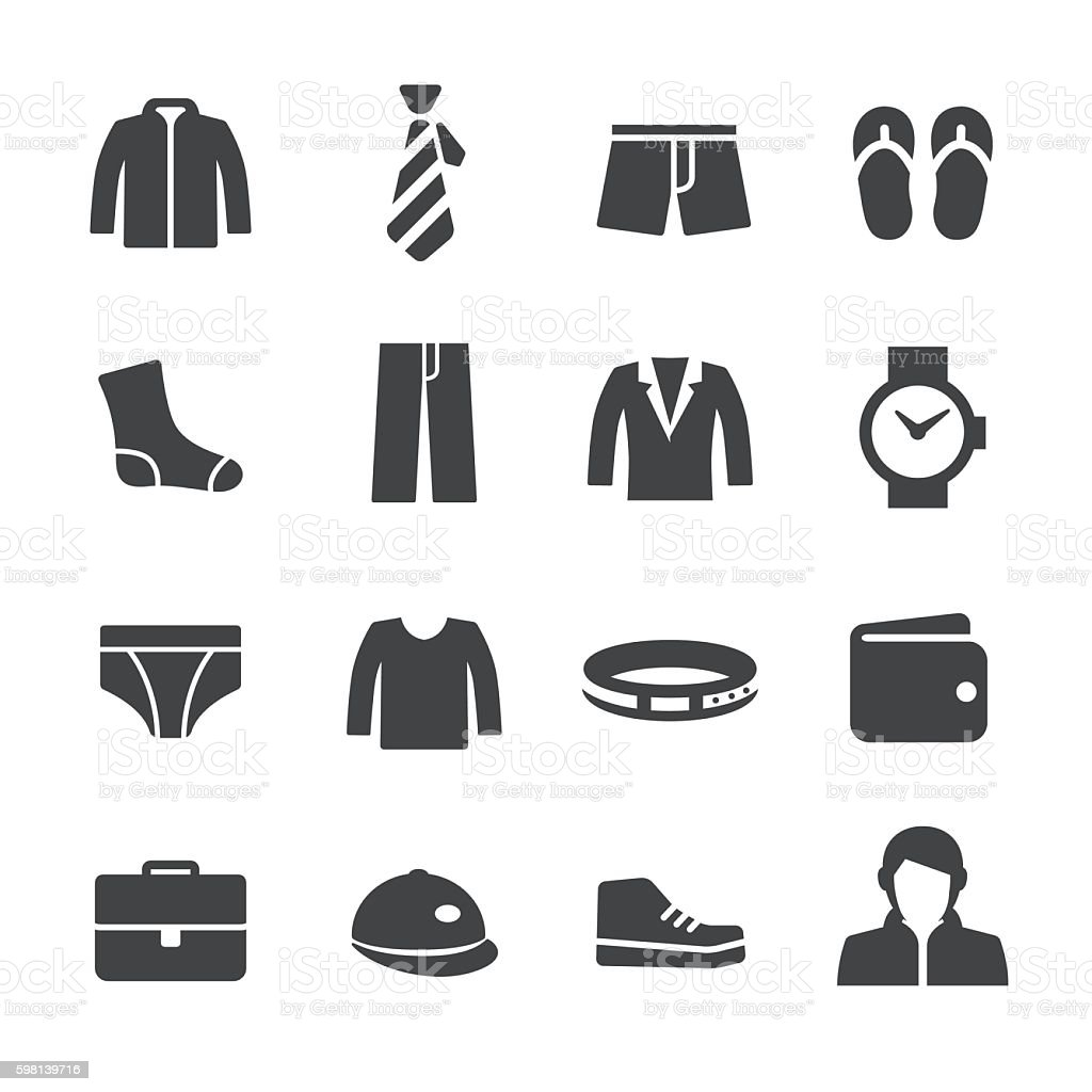 Mens Wear Icons - Acme Series vector art illustration