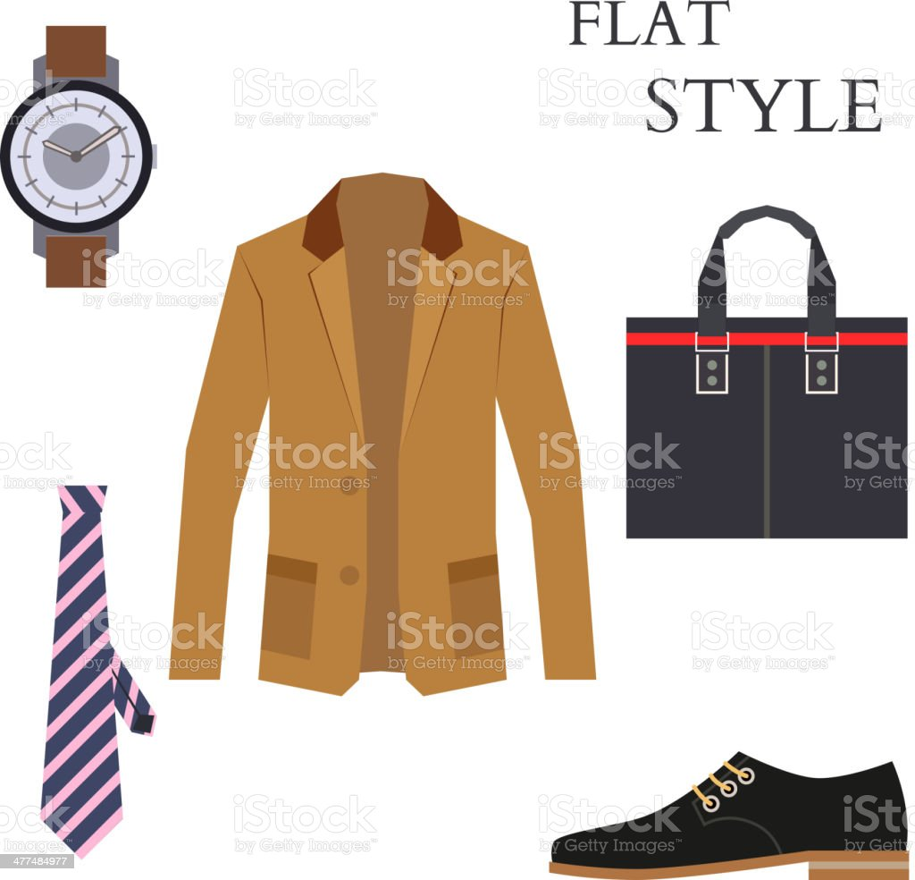 Mens Wear Look Fashion. Flat Style. Vector vector art illustration