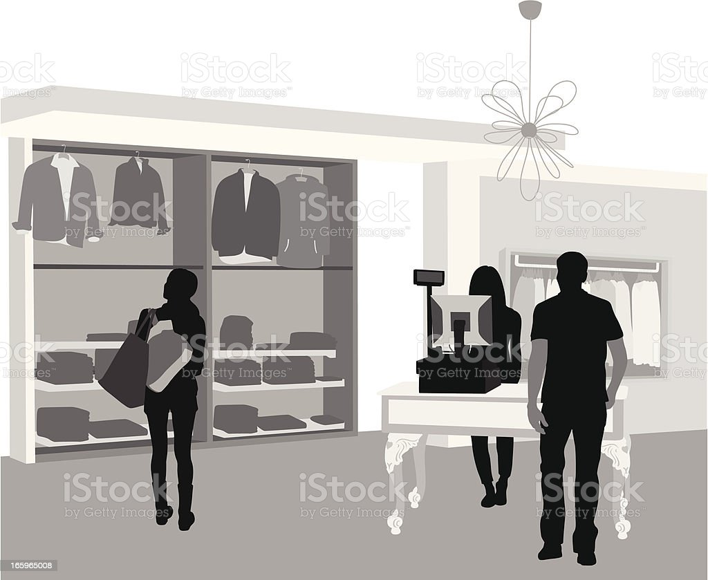 Mens Wear Store Vector Silhouette royalty-free stock vector art