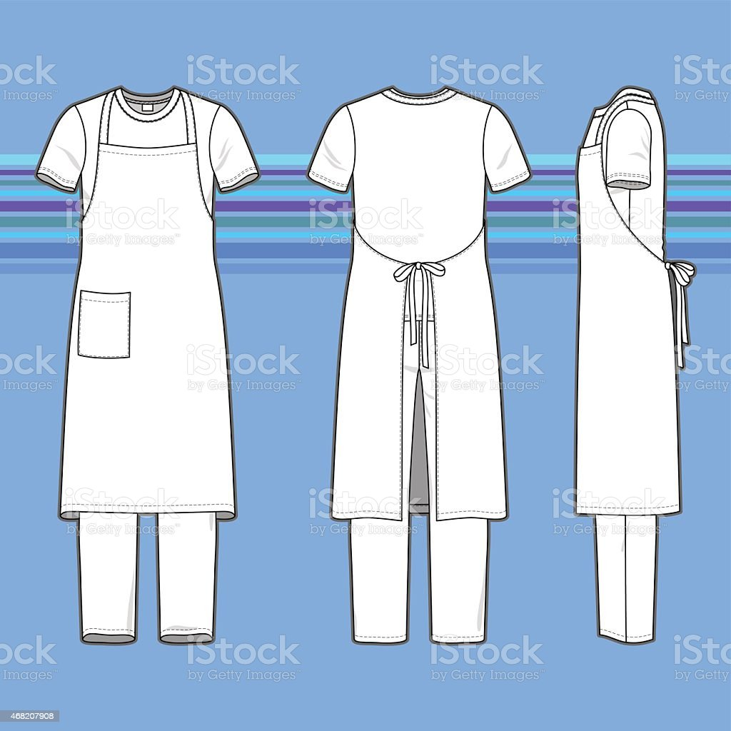 Men's white clothing set with apron on a blue background vector art illustration