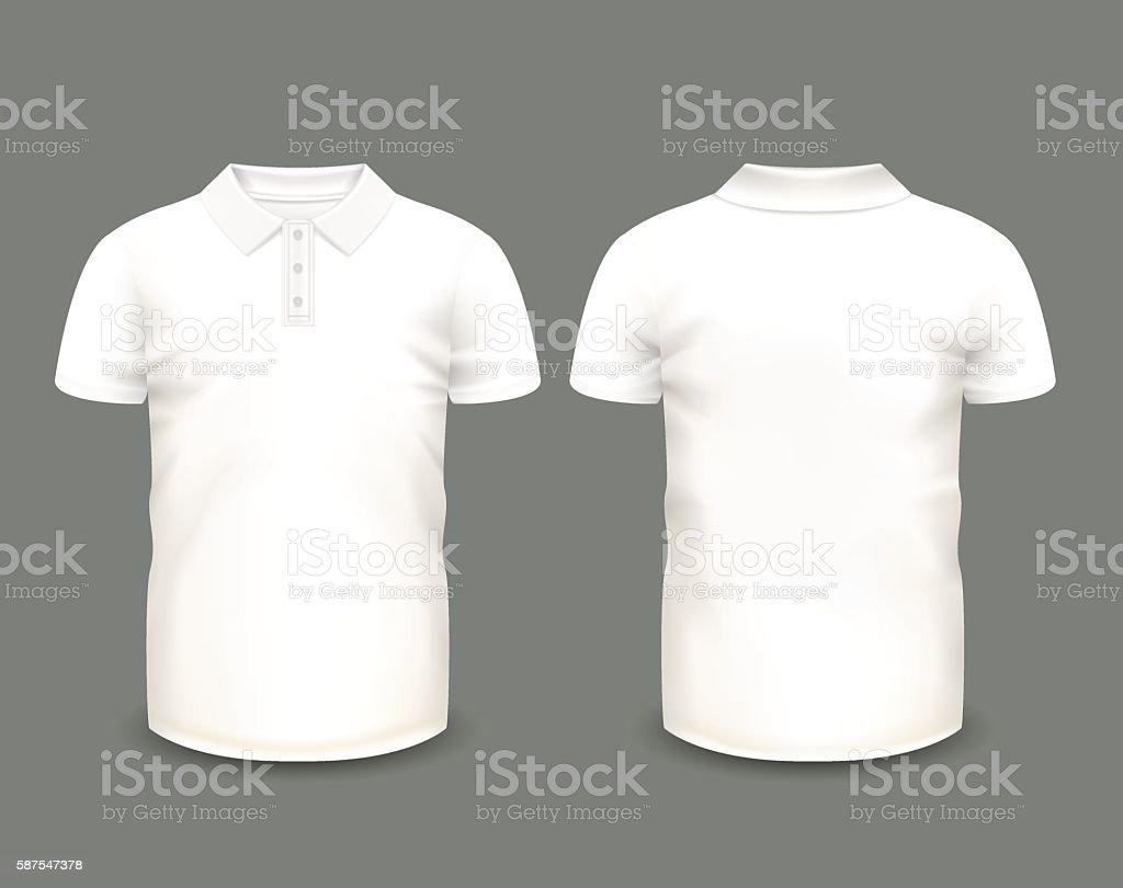 Mens white polo shirt short sleeve vector art illustration