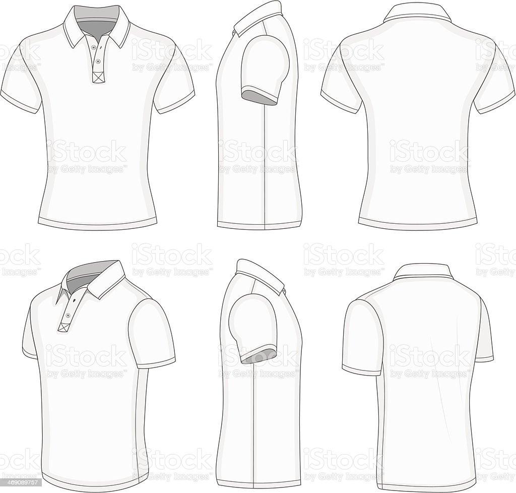 Men's white short sleeve polo shirt. vector art illustration