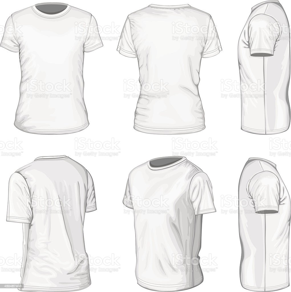 Men's white short sleeve t-shirt design templates vector art illustration