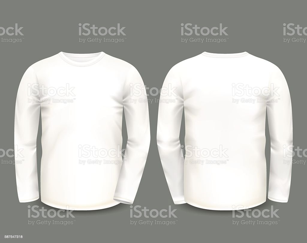 Mens white sweatshirt long sleeve vector art illustration
