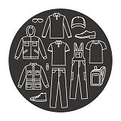 Men's working clothes icons set