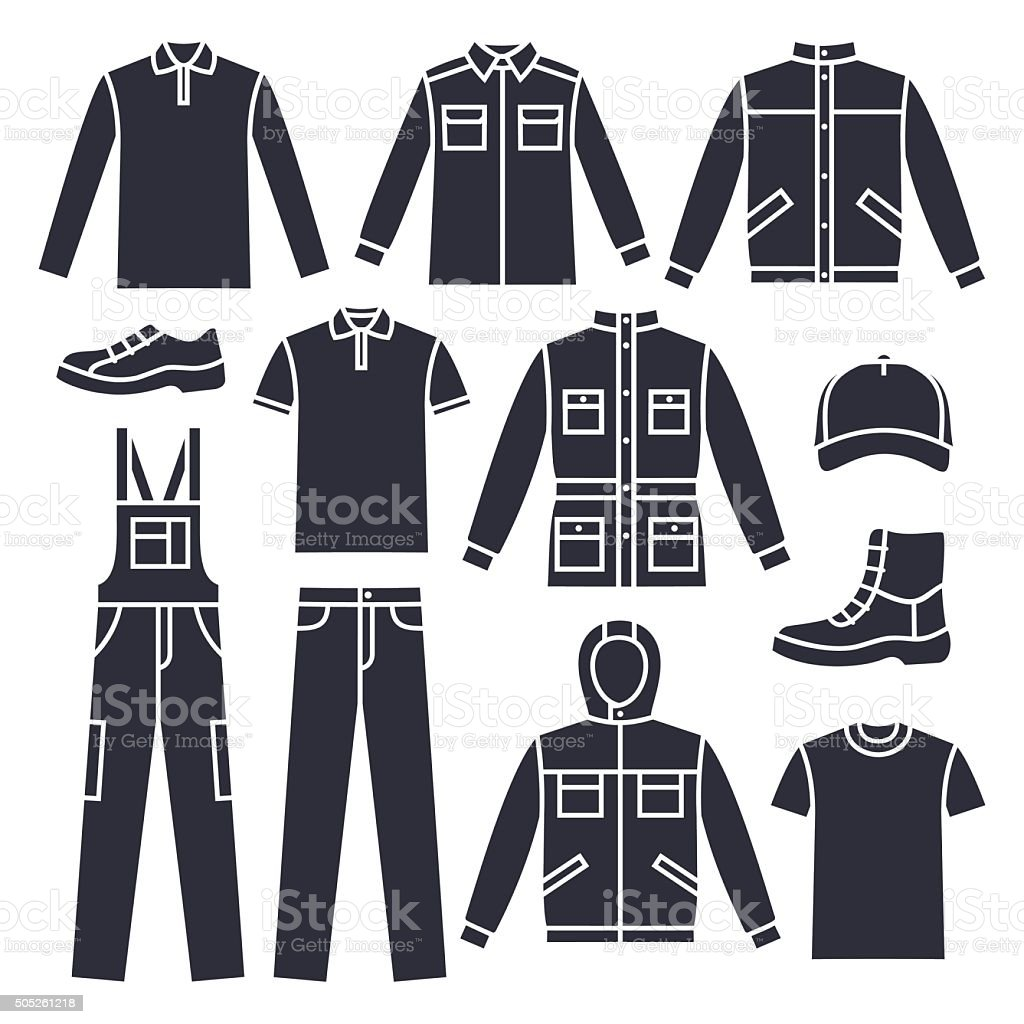 Men's working clothes vector art illustration