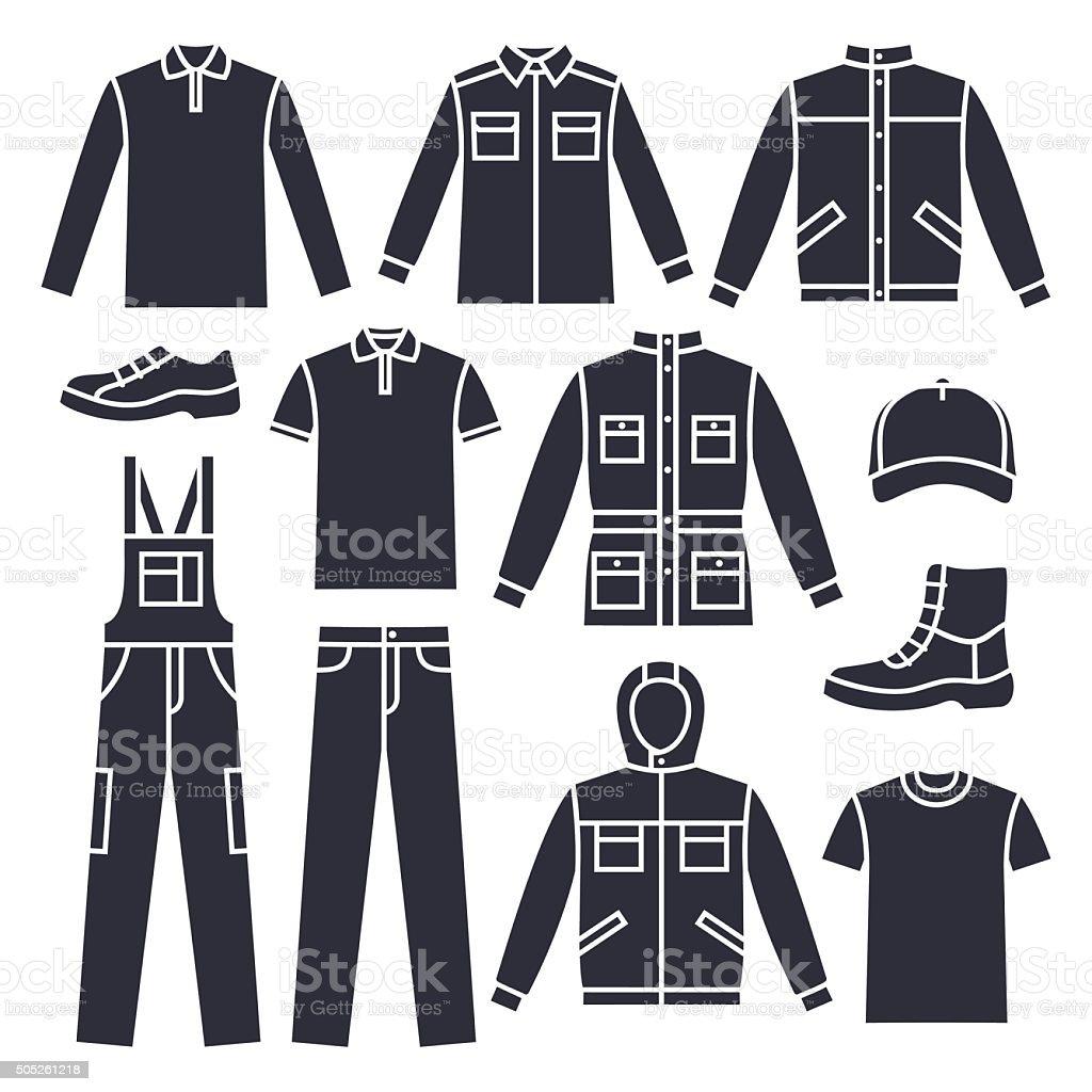 Men's working clothes vector art illustration