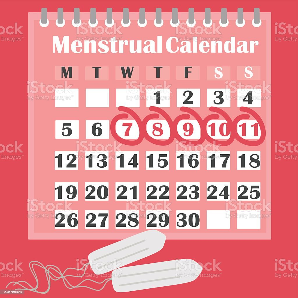 Menstruation calendar with cotton tampons. vector art illustration