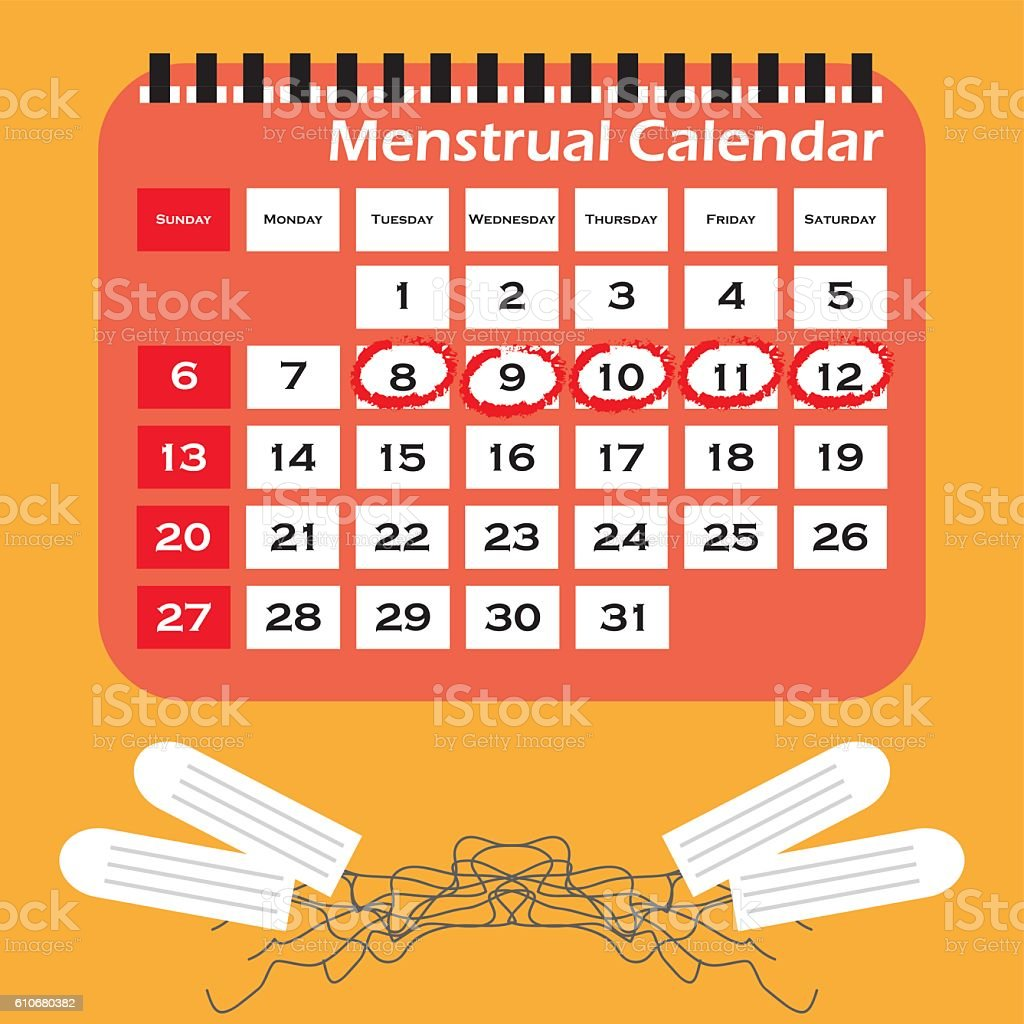Menstruation calendar with cotton tampons. Woman hygiene protection. vector art illustration