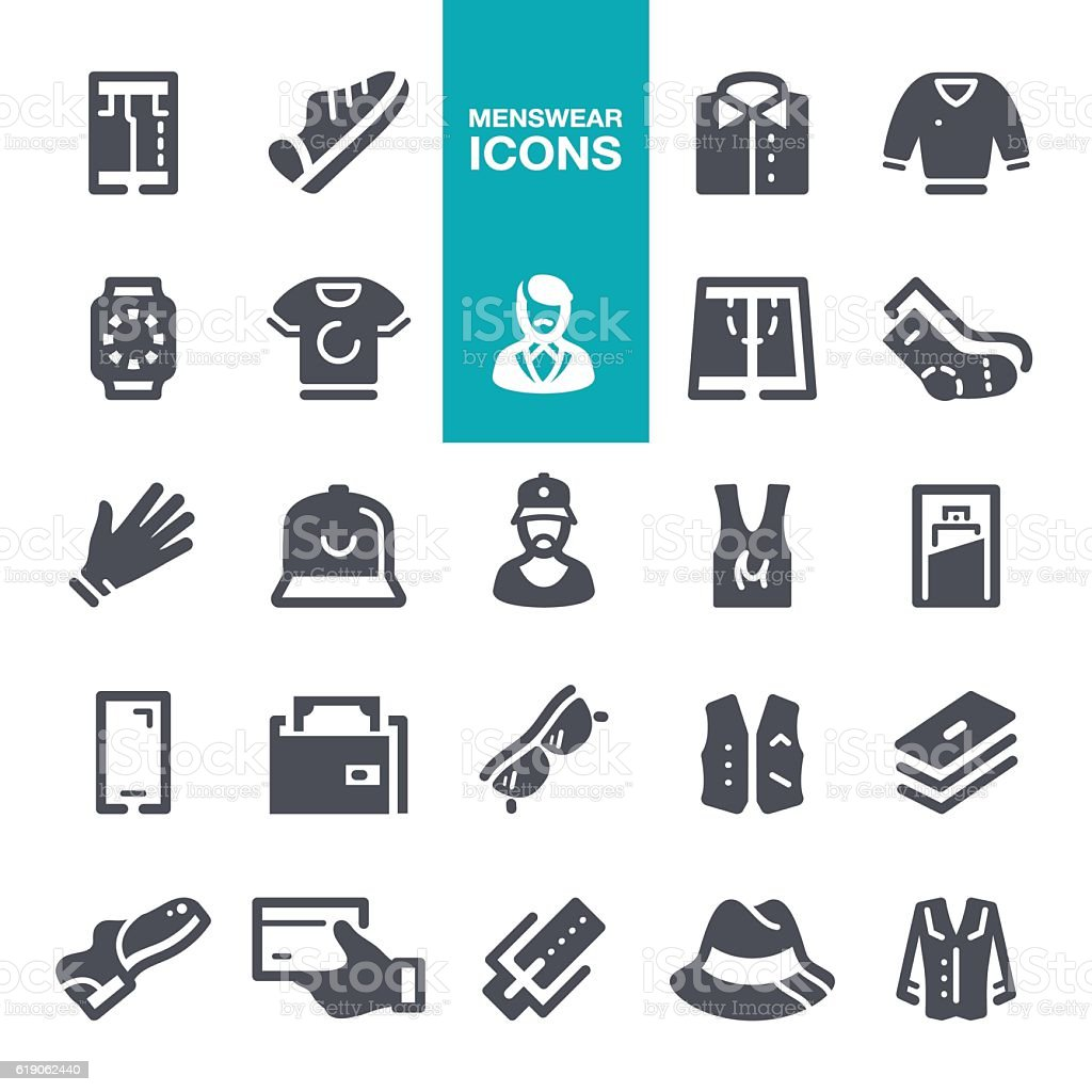 Menswear icons vector art illustration