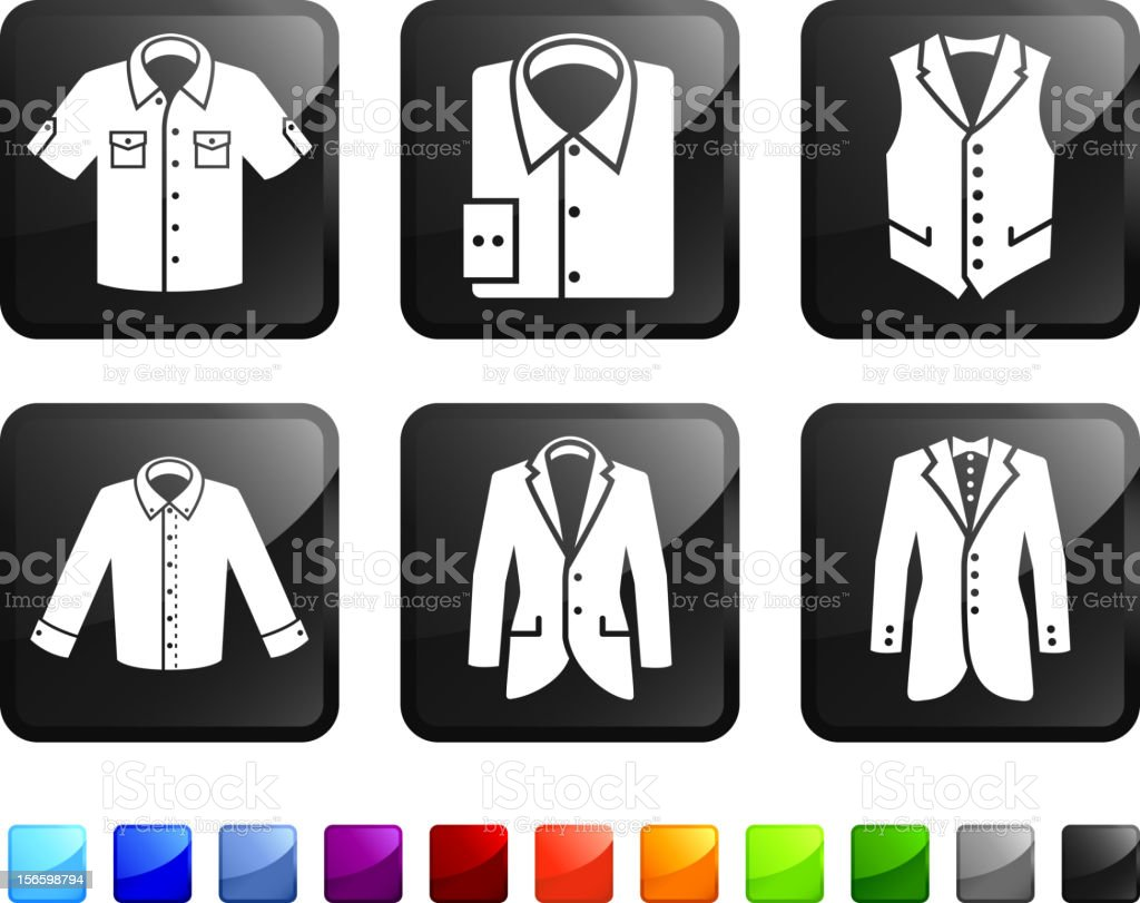 Menswear Jacket and Shirt royalty free vector icon set stickers vector art illustration