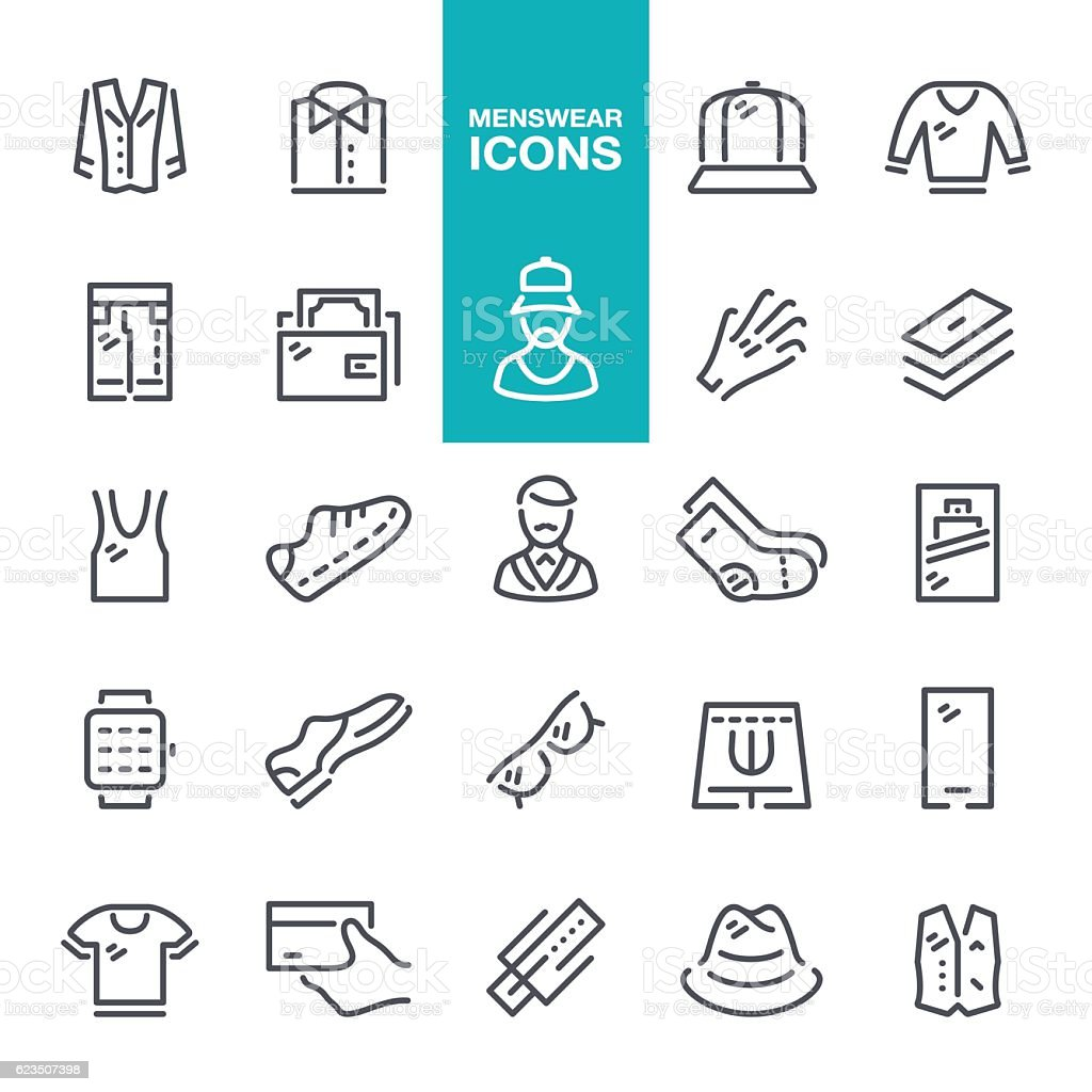Menswear line icons vector art illustration
