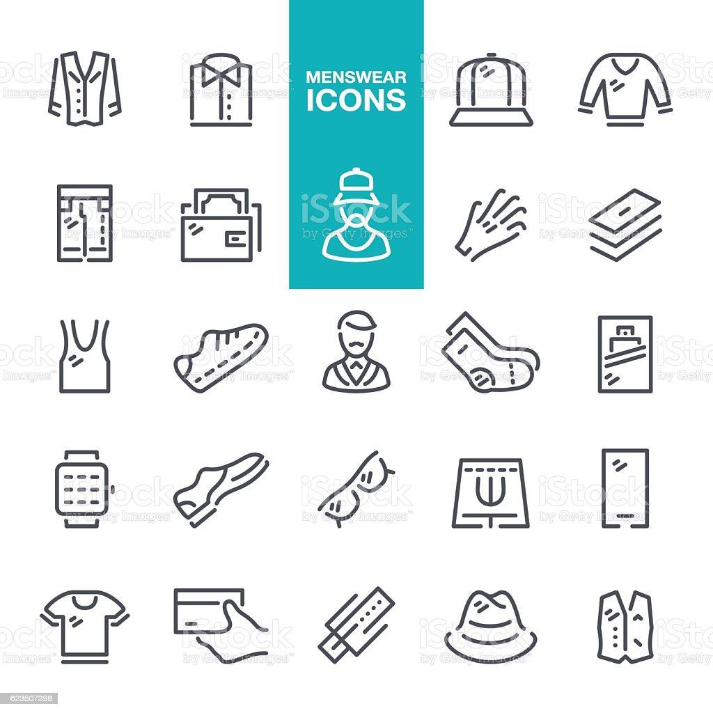 Menswear line icons vector art illustration