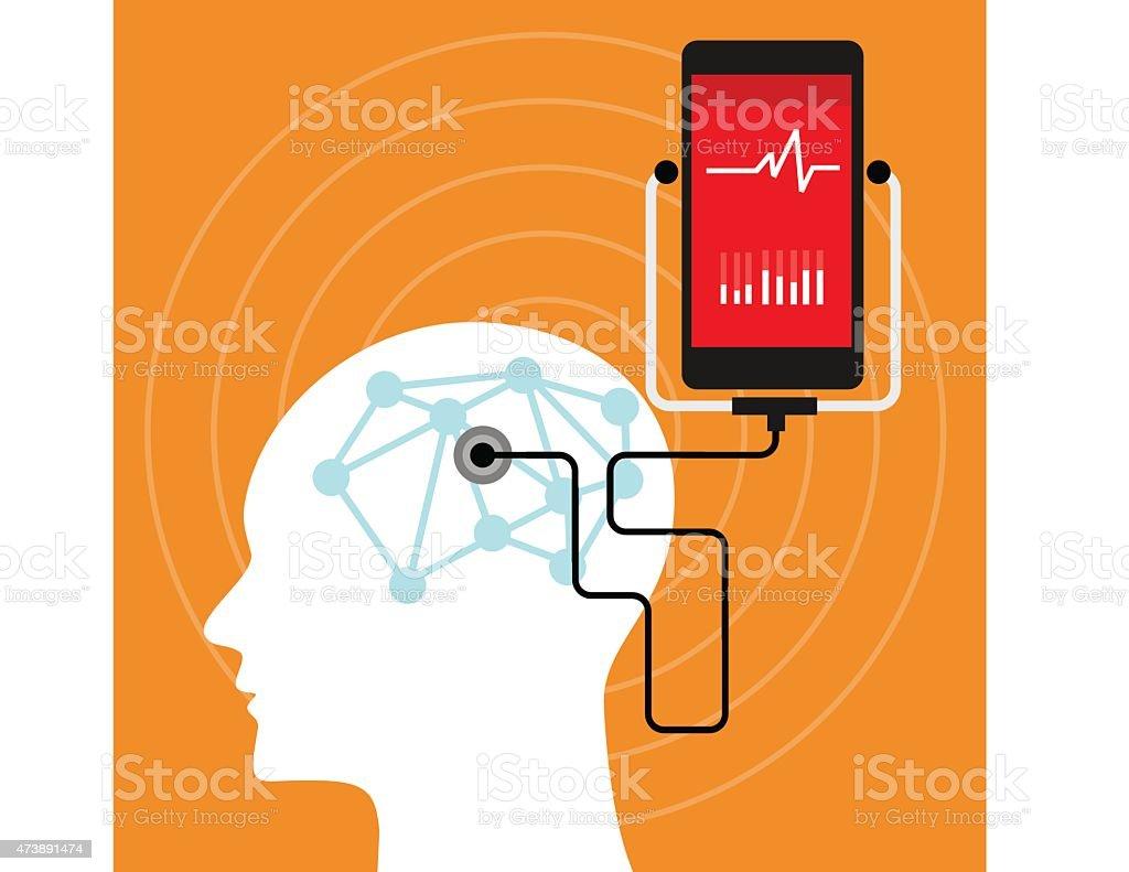 mental brain health monitoring mobile phone vector art illustration