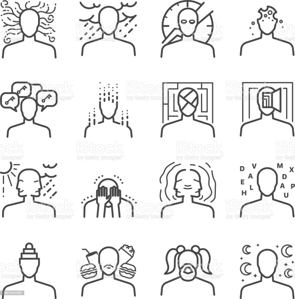 Mental disorders icon set vector art illustration