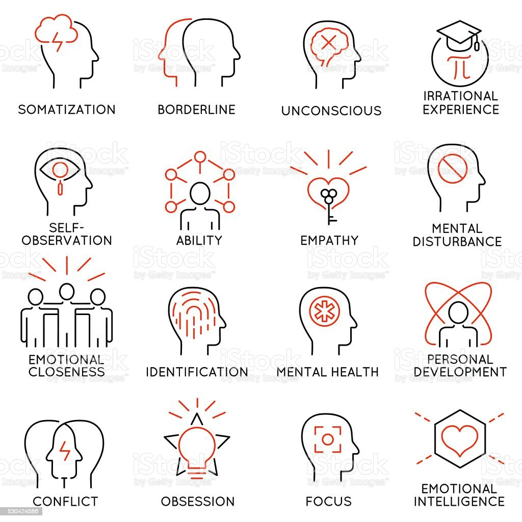 Mental features of human brain process, mental disorders - part 1 vector art illustration