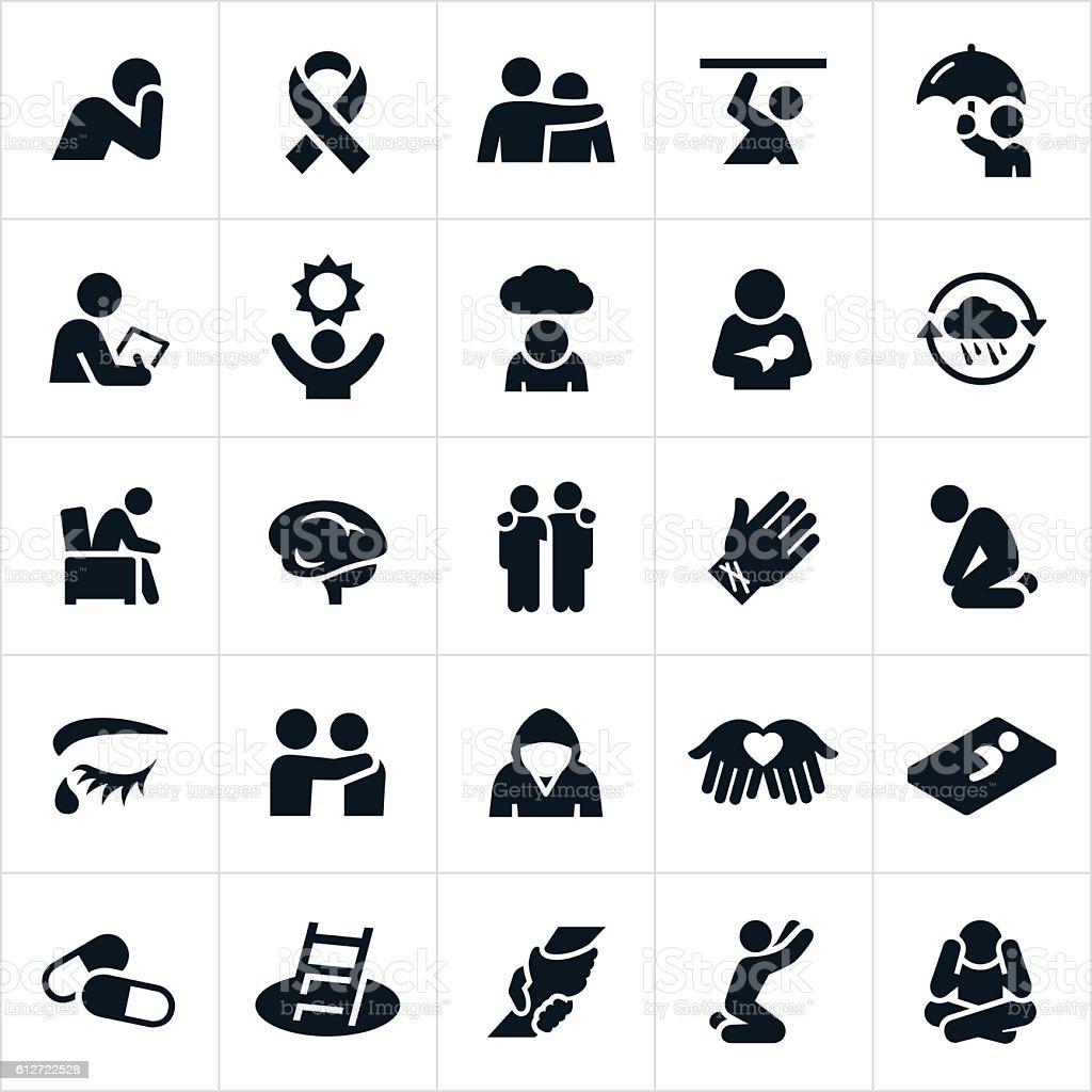 Mental Illness Icons vector art illustration