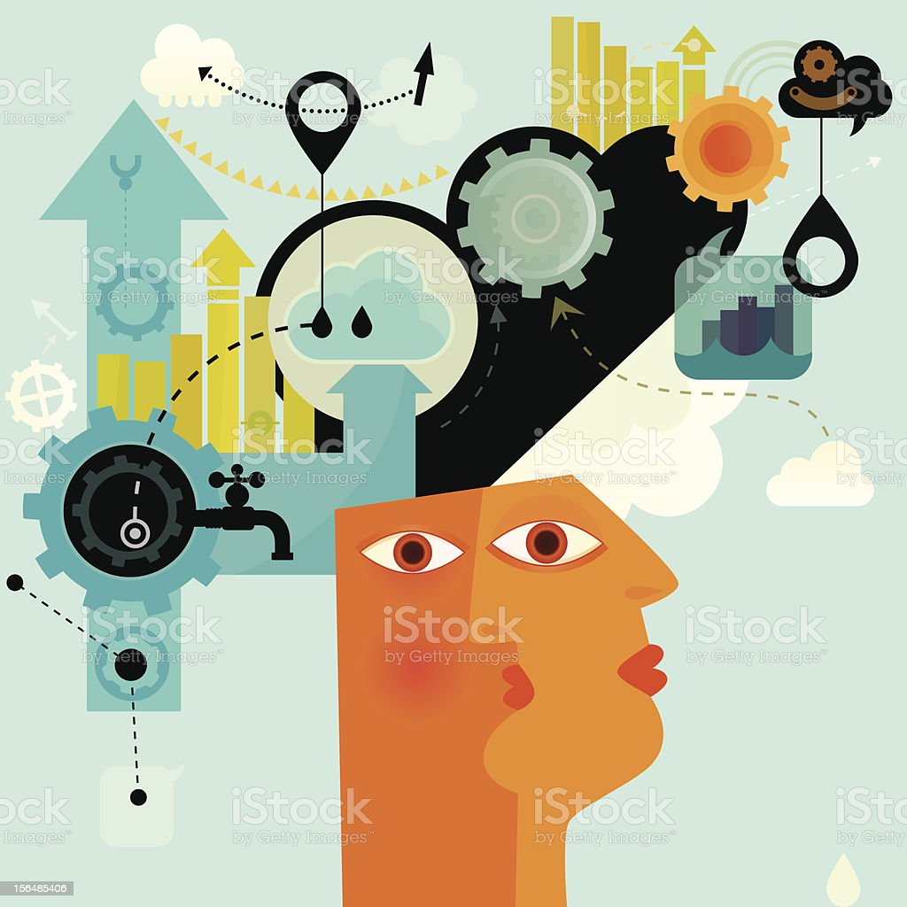 Mental Work royalty-free stock vector art