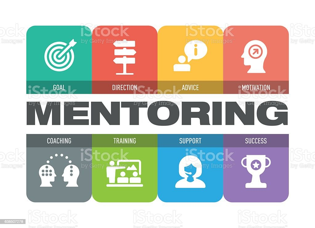 Mentoring Icon Set vector art illustration