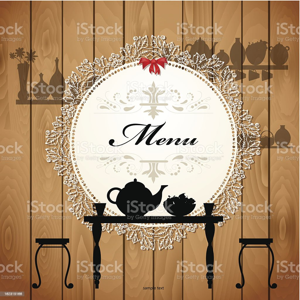 Menu card design for a cute cafe royalty-free stock vector art